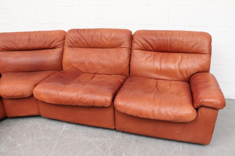 Swiss Handsome De Sede DS 66 5-Piece Cognac Leather Sectional Sofa For Sale