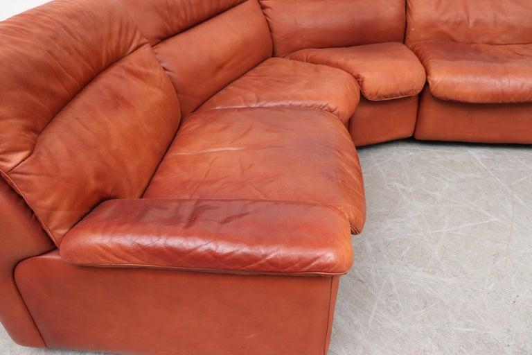 Late 20th Century Handsome De Sede DS 66 5-Piece Cognac Leather Sectional Sofa For Sale