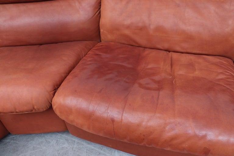 Handsome De Sede DS 66 5-Piece Cognac Leather Sectional Sofa For Sale 1