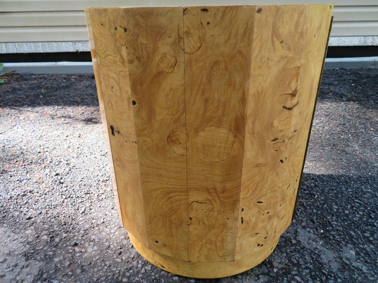Handsome Edward Wormley for Dunbar Burl Wood Bar Cabinet End Table In Good Condition For Sale In Medford, NJ