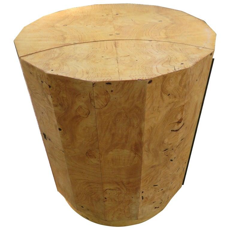 Handsome Edward Wormley for Dunbar Burl Wood Bar Cabinet End Table For Sale