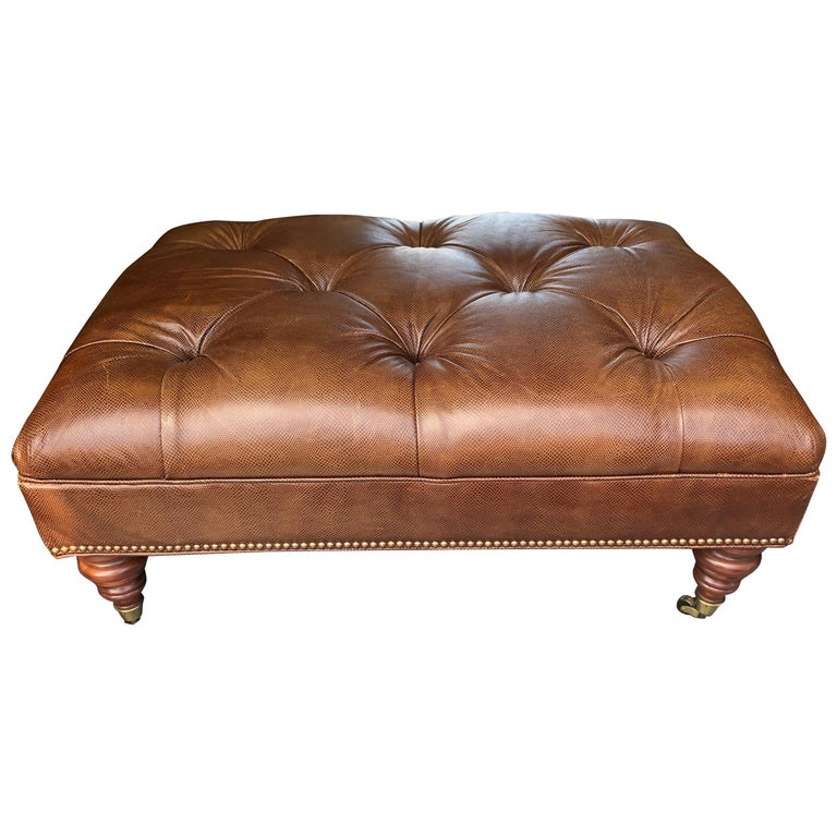 Pleasing Handsome Embossed Leather Tufted Ottoman Coffee Table Uwap Interior Chair Design Uwaporg