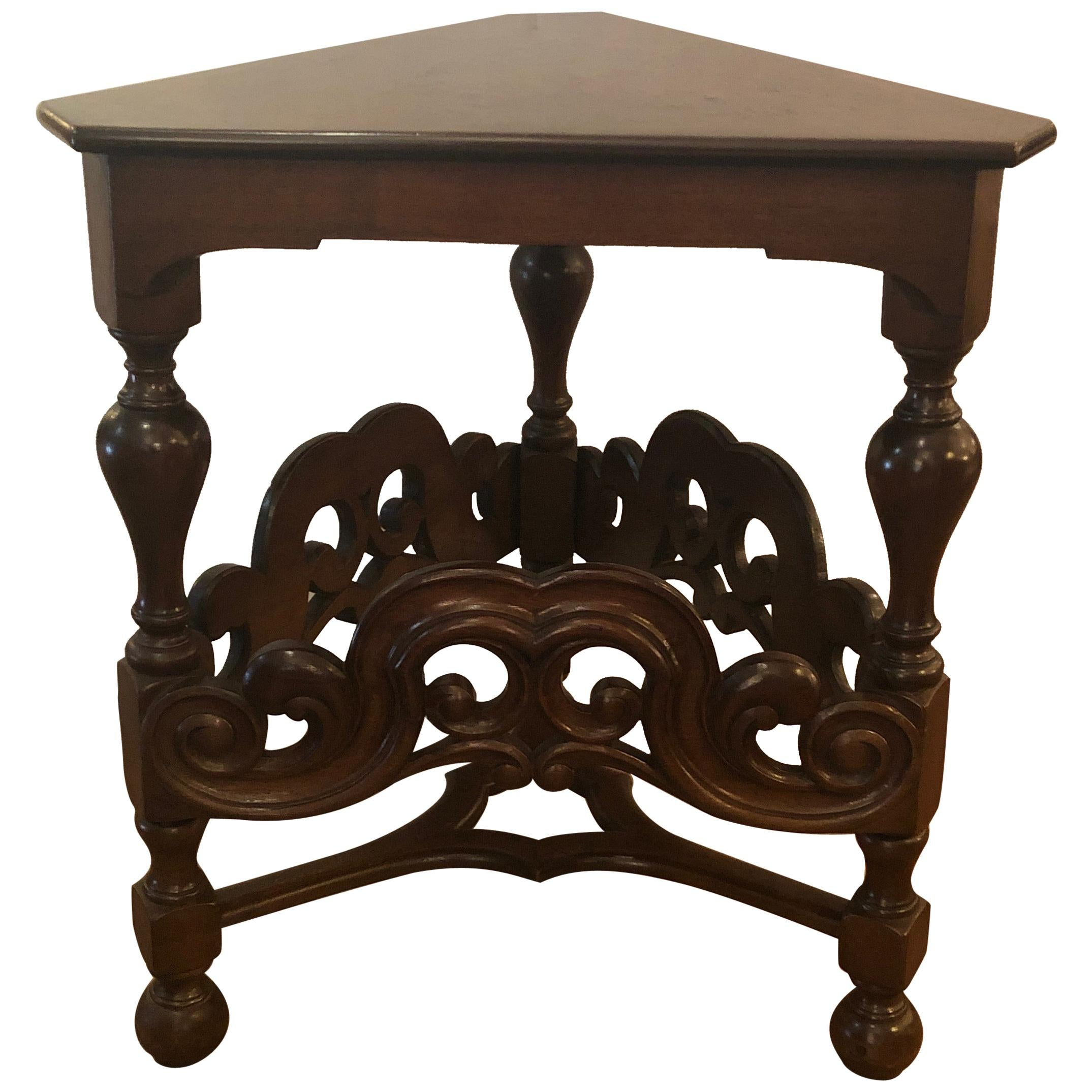 Handsome English Antique Triangular Walnut Side End Table