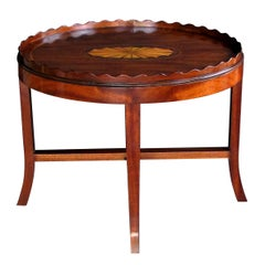 Handsome English George III Style Oval Inlaid Tray on Stand