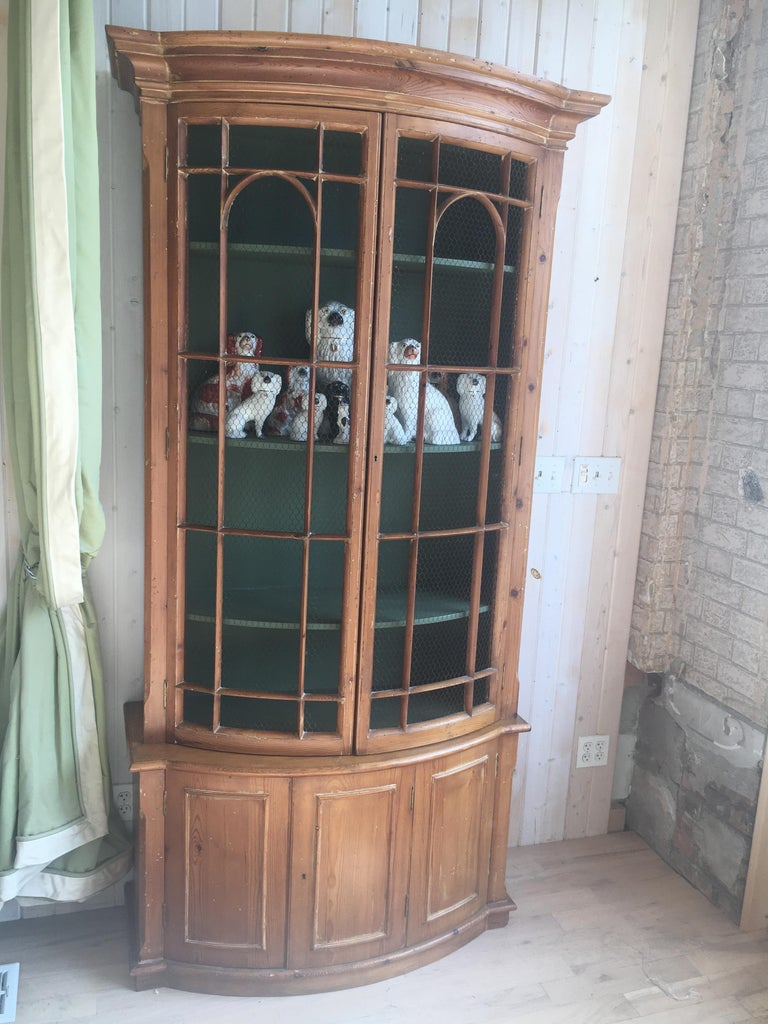 Handsome English Pine Two-Door Cabinet with Wire Mesh on Upper Doors Nice Patina For Sale 5