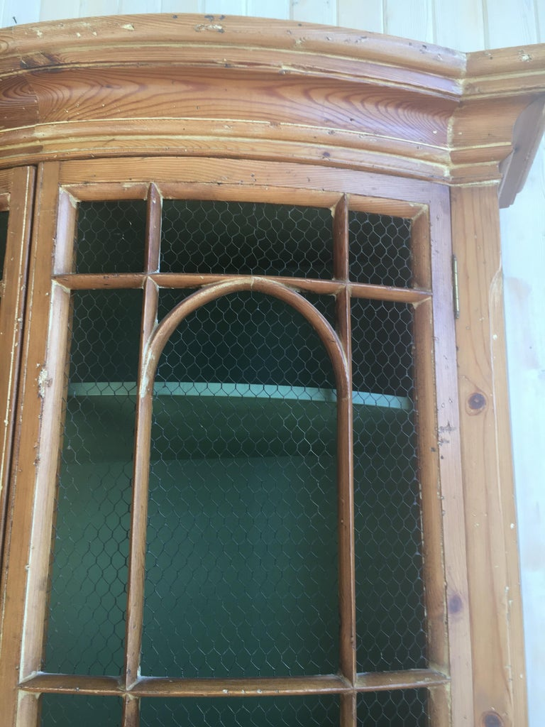 Handsome English Pine Two-Door Cabinet with Wire Mesh on Upper Doors Nice Patina For Sale 1