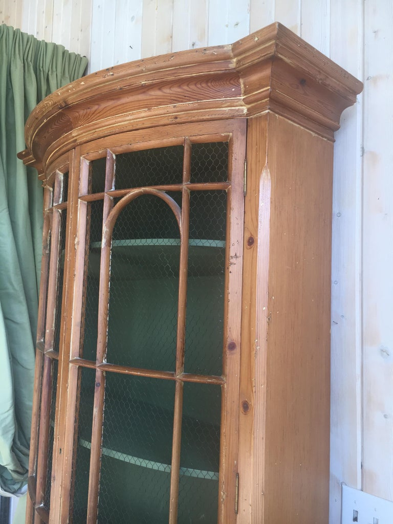 Handsome English Pine Two-Door Cabinet with Wire Mesh on Upper Doors Nice Patina For Sale 2