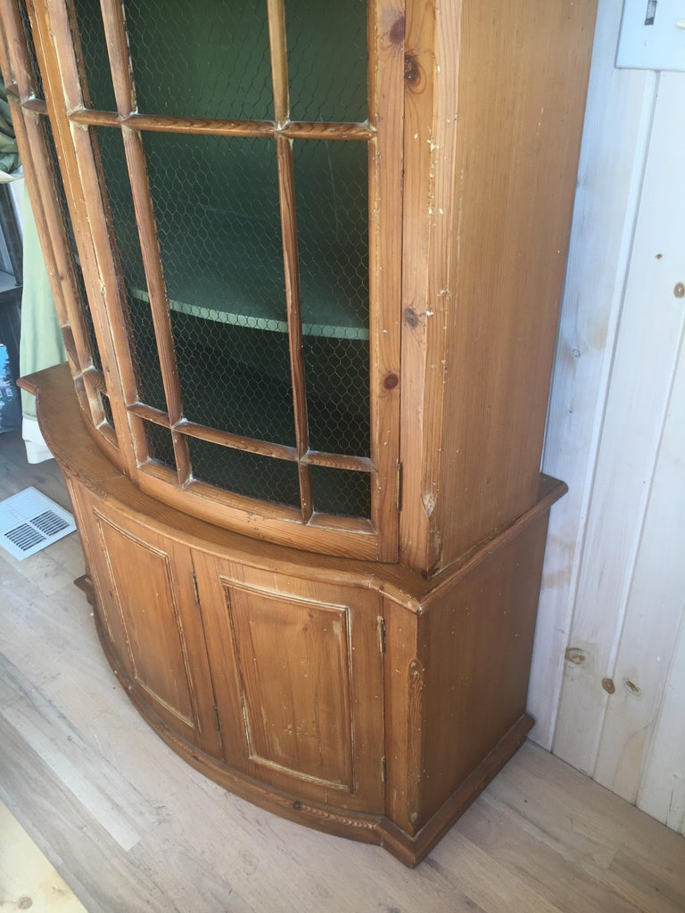 Handsome English Pine Two-Door Cabinet with Wire Mesh on Upper Doors Nice Patina For Sale 3