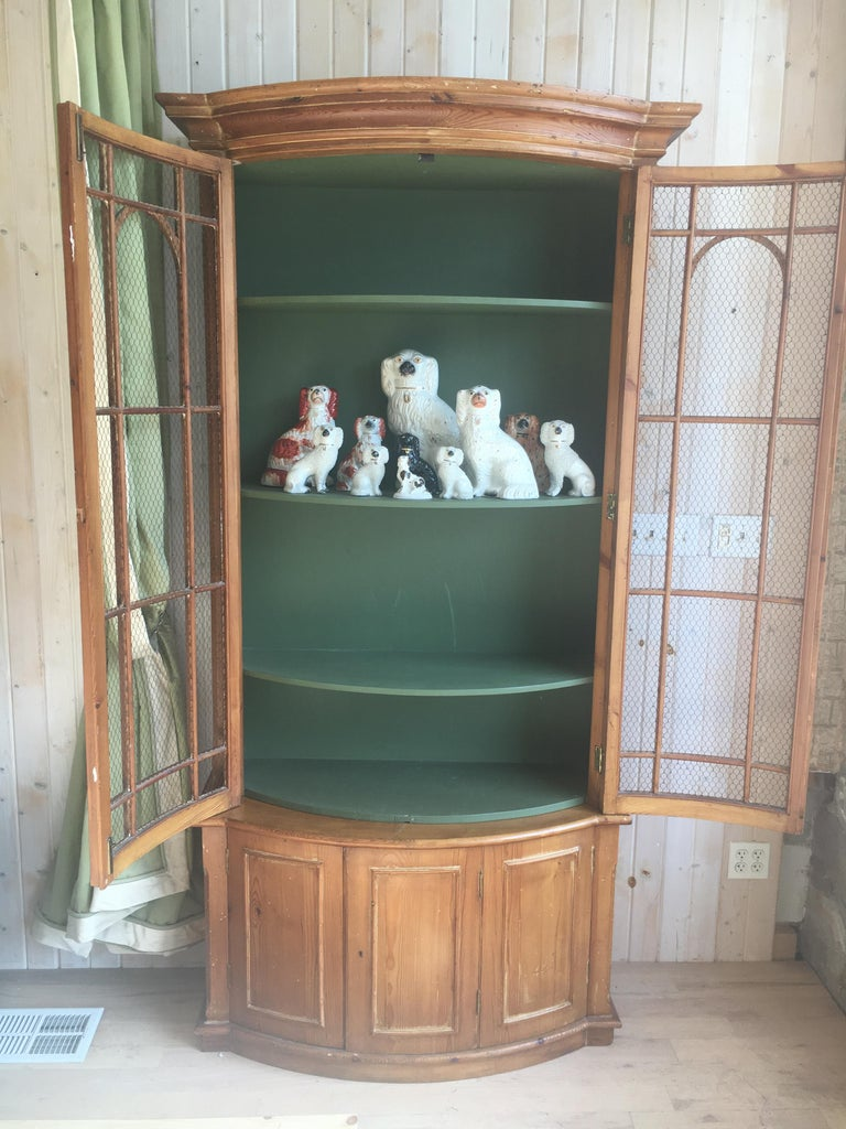 Handsome English Pine Two-Door Cabinet with Wire Mesh on Upper Doors Nice Patina For Sale 4