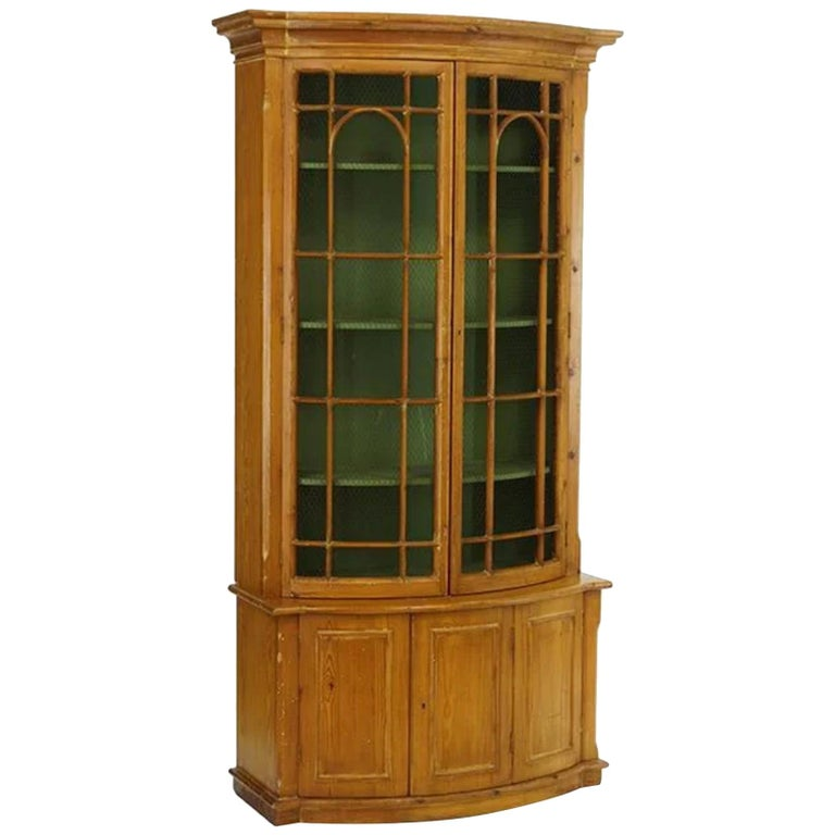 Handsome English Pine Two-Door Cabinet with Wire Mesh on Upper Doors Nice Patina For Sale
