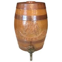 Handsome English Stoneware Antique Spirit Whiskey Barrel