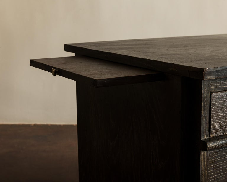 Handsome French Desk in Black Cerused Oak, 1940s For Sale 5