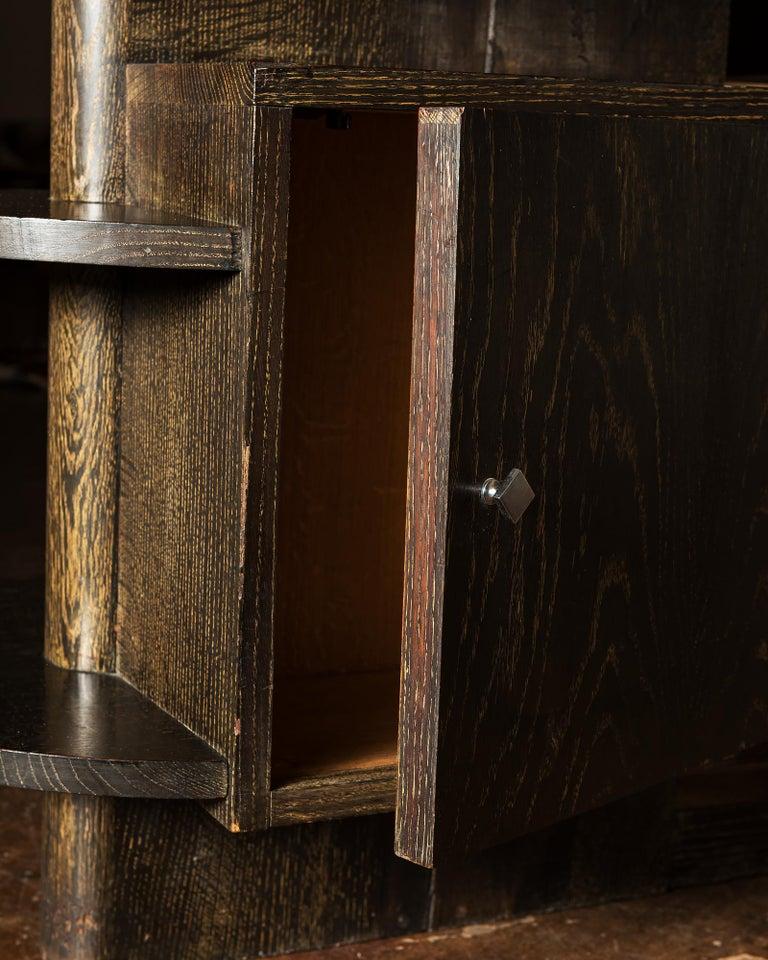 Handsome French Desk in Black Cerused Oak, 1940s For Sale 8