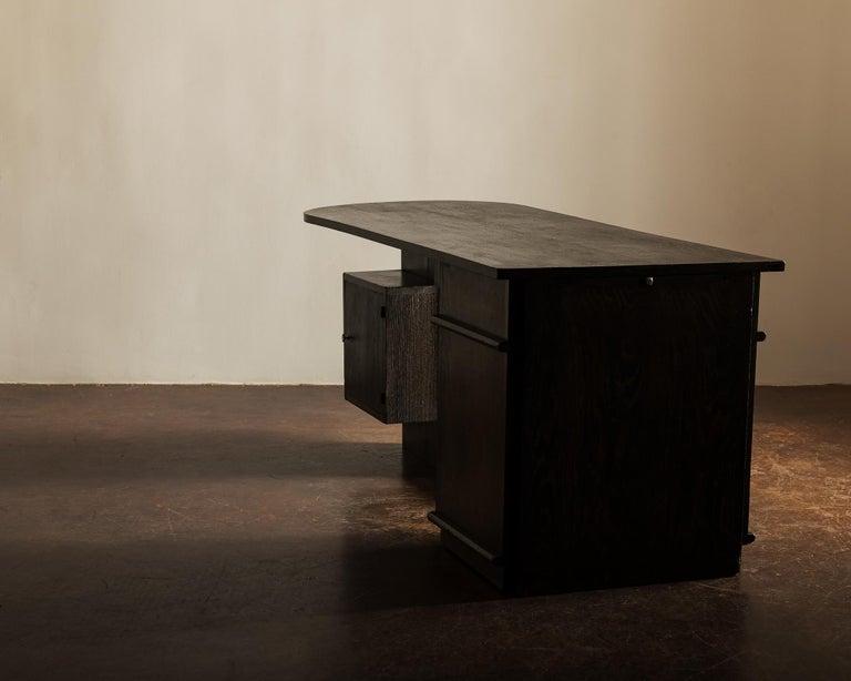 Art Deco Handsome French Desk in Black Cerused Oak, 1940s For Sale