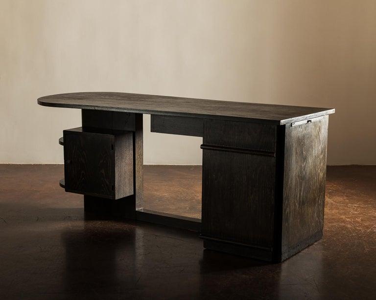 European Handsome French Desk in Black Cerused Oak, 1940s For Sale
