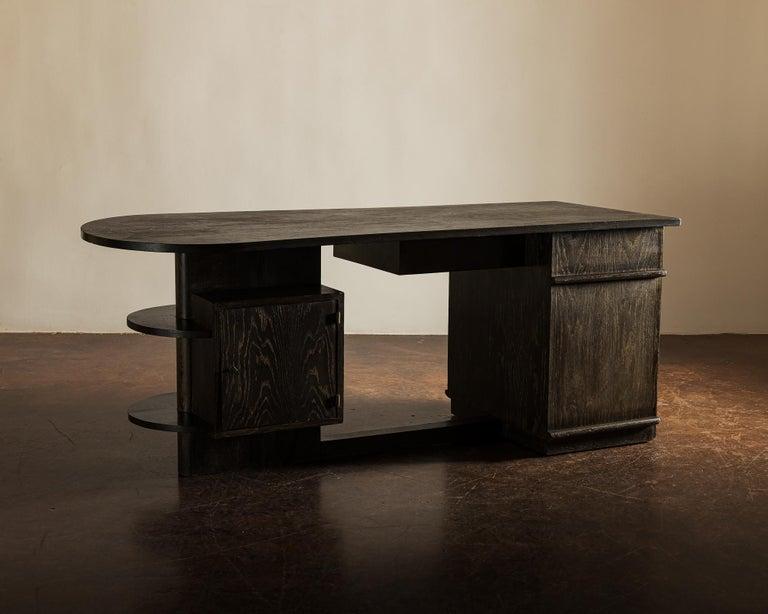 Handsome French Desk in Black Cerused Oak, 1940s In Good Condition For Sale In Santa Fe, NM