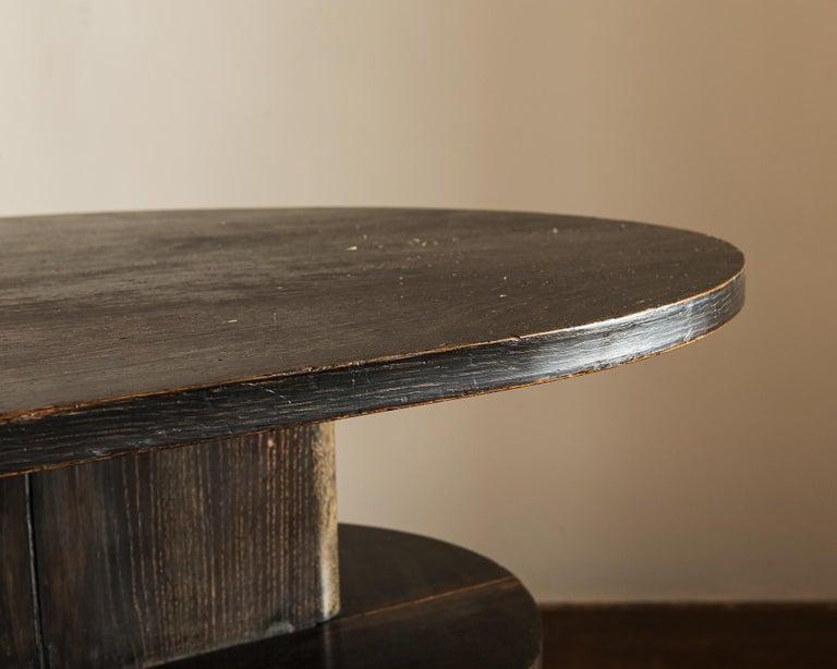 Handsome French Desk in Black Cerused Oak, 1940s For Sale 1