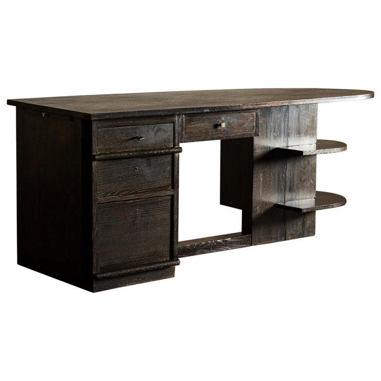 Handsome French Desk in Black Cerused Oak, 1940s For Sale