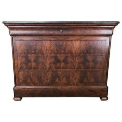 Handsome French Empire Marble-Top Burled Walnut Chest of Drawers
