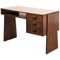 Handsome French Modernist Desk in Walnut, 1950s