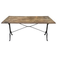 Handsome French Vintage Bistro Table-Wood and Iron
