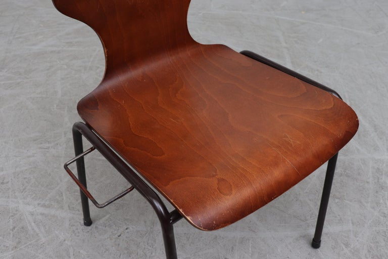 Handsome Fritz Hansen Style Wingback Stacking Dining Chairs For Sale 4