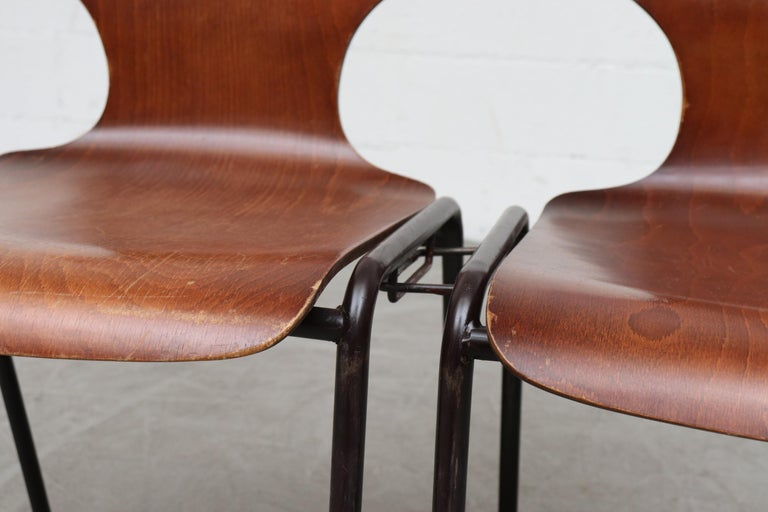 Dutch Handsome Fritz Hansen Style Wingback Stacking Dining Chairs For Sale