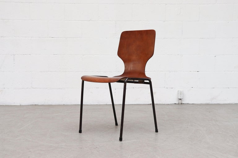Handsome Fritz Hansen Style Wingback Stacking Dining Chairs In Good Condition For Sale In Los Angeles, CA
