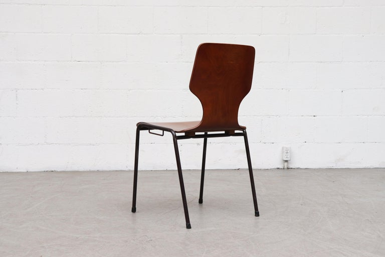 Wood Handsome Fritz Hansen Style Wingback Stacking Dining Chairs For Sale