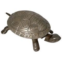 Handsome German Figural Mechanical Desk or Counter Bell, Tortoise