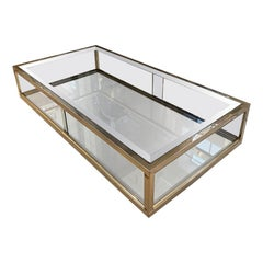 Handsome Glass and Brass Maison Jansen 1970s Coffee Table