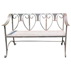 Handsome Hand Forged Rustic Iron and Wooden Garden Bench