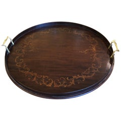 Handsome Inlay Wood Round Serving Tray
