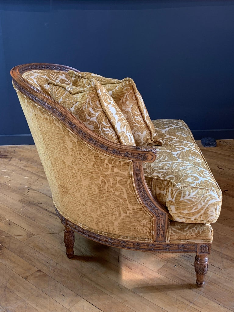North American Handsome John Mascheroni Bergère Lounge Chairs with Acanthus Carved Frames For Sale