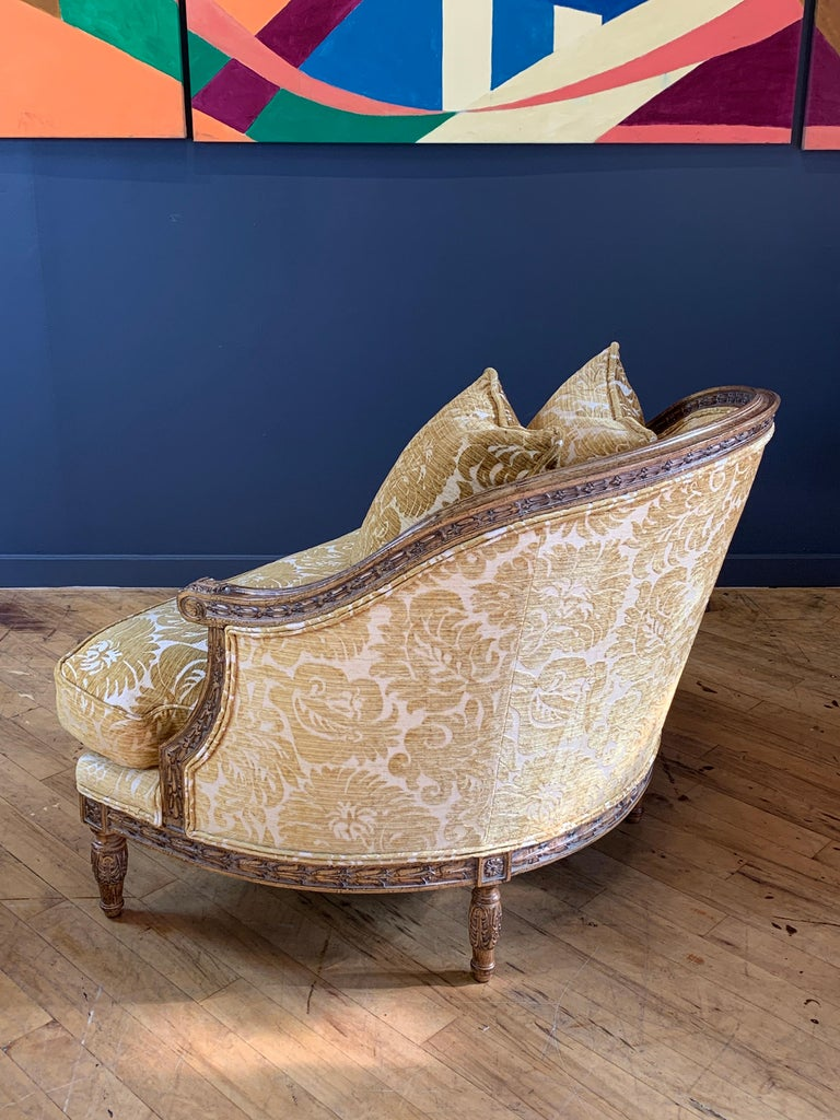 Handsome John Mascheroni Bergère Lounge Chairs with Acanthus Carved Frames In Good Condition For Sale In San Leandro, CA