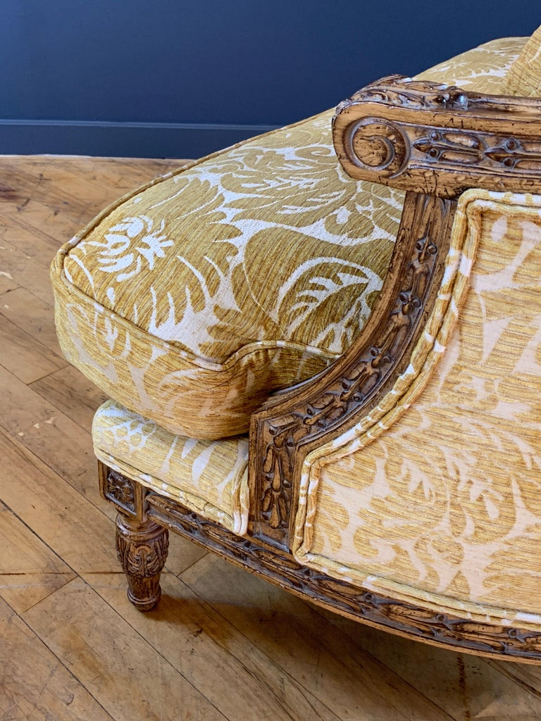 Late 20th Century Handsome John Mascheroni Bergère Lounge Chairs with Acanthus Carved Frames For Sale