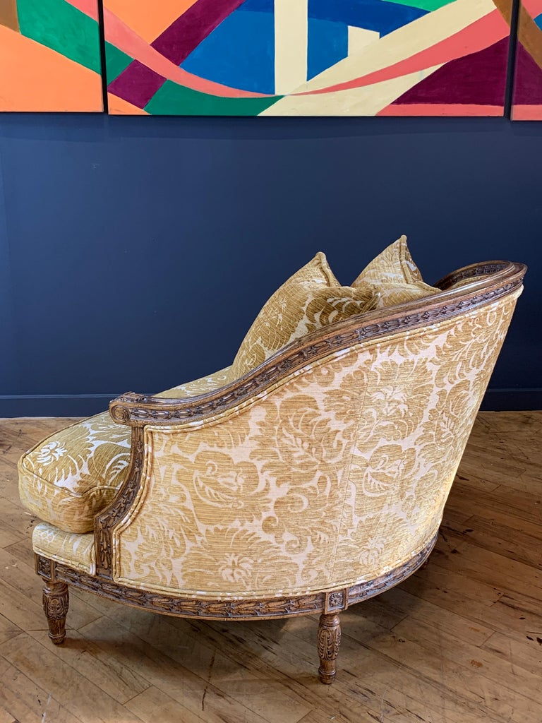 Oak Handsome John Mascheroni Bergère Lounge Chairs with Acanthus Carved Frames For Sale