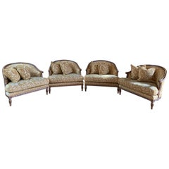 Handsome John Mascheroni Bergère Lounge Chairs with Acanthus Carved Frames
