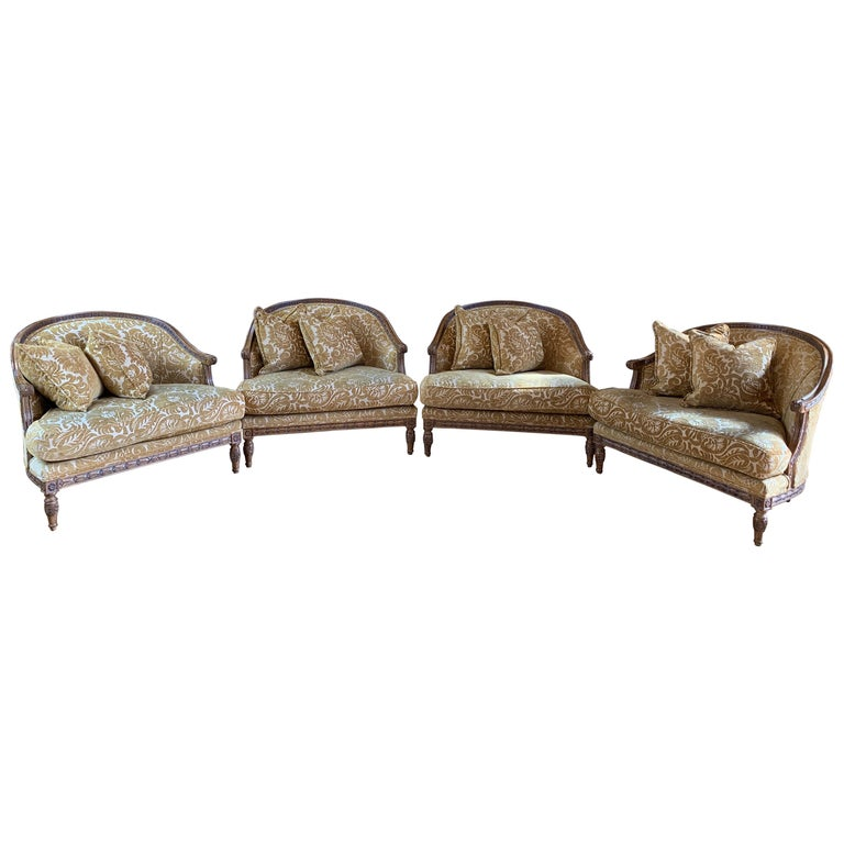 Handsome John Mascheroni Bergère Lounge Chairs with Acanthus Carved Frames For Sale