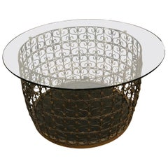 Handsome Large Round Iron Filigree Coffee Table