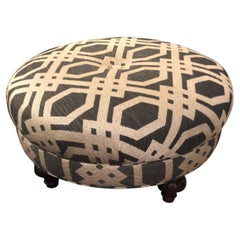 Handsome Large Round Upholstered Ottoman in Striking Lattice Motife Fabric