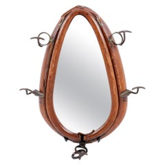 Handsome Leather Horse Colar Mounted With Iron Coat Hooks, Incasing Mirror