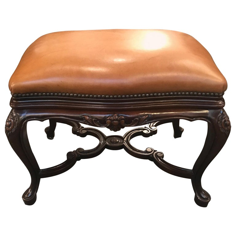 Handsome Leather Upholstered Bench with Walnut Base For Sale