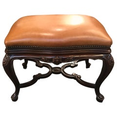 Handsome Leather Upholstered Bench with Walnut Base