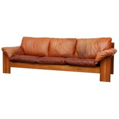 Handsome Leolux 3-Seat Sofa with Cognac Leather Cushions