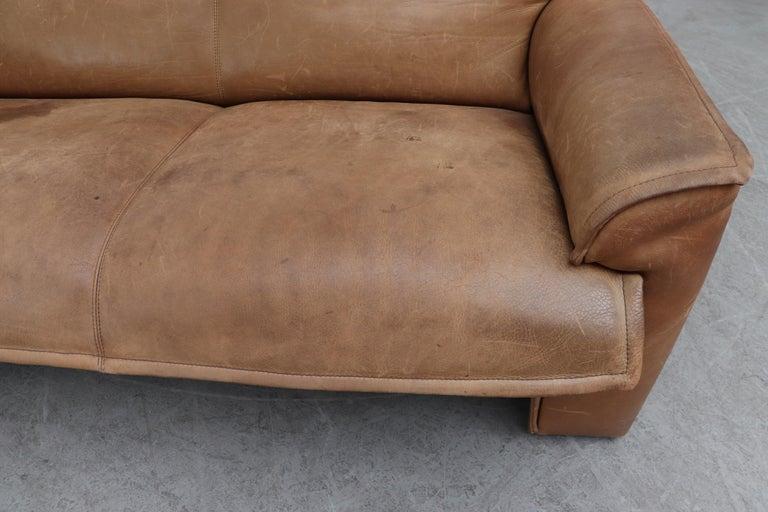 Handsome Leolux Buffalo Leather Loveseat For Sale 4