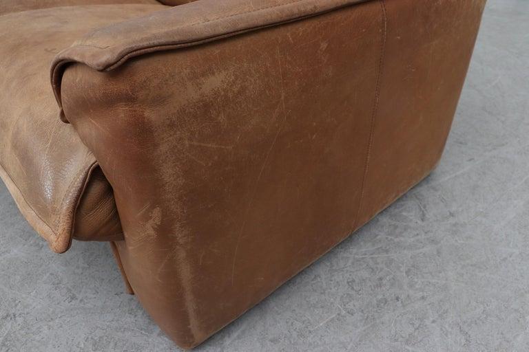 Handsome Leolux Buffalo Leather Loveseat For Sale 5