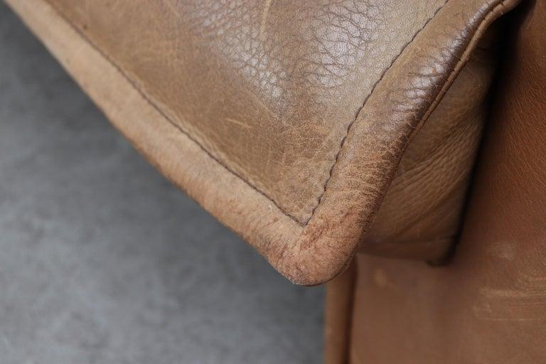 Handsome Leolux Buffalo Leather Loveseat For Sale 6