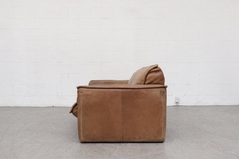 Mid-Century Modern Handsome Leolux Buffalo Leather Loveseat For Sale