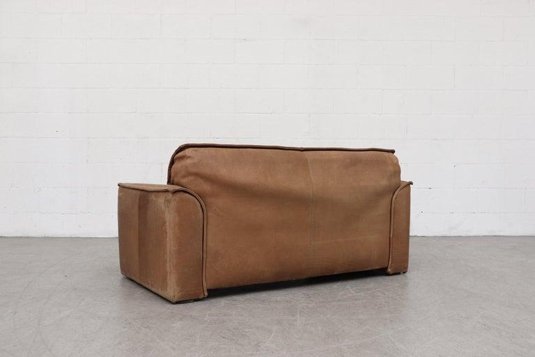 Dutch Handsome Leolux Buffalo Leather Loveseat For Sale